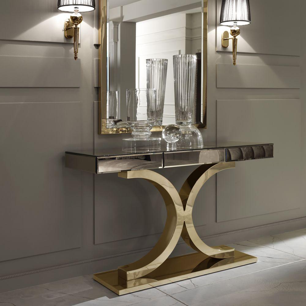 Designer Italian Bronze Mirrored Glass Modern Gold Console At Juliettes Interiors Chelsea Lon Modern Console Tables Modern Glass Dining Table Modern Console