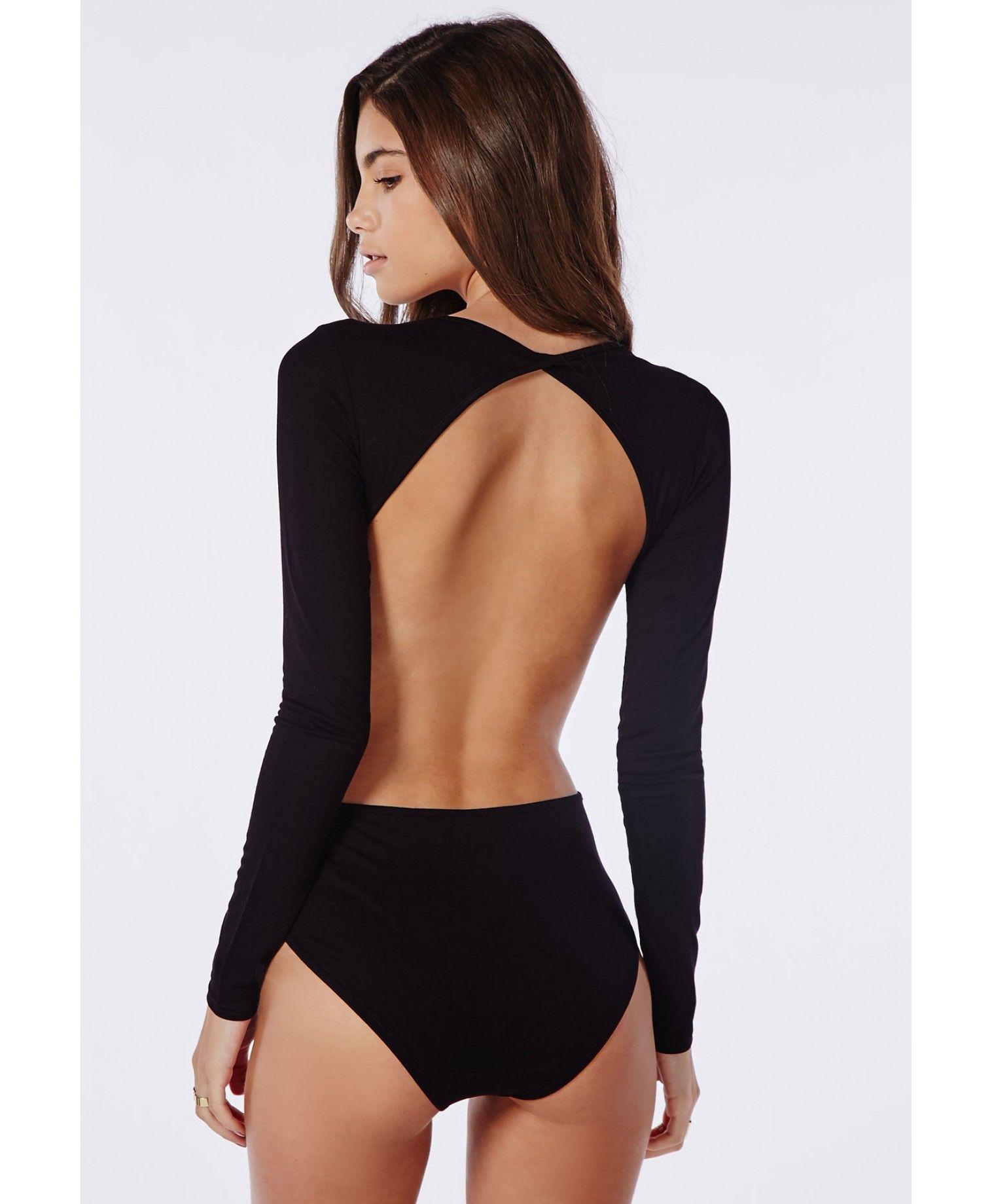 66963e1d10a Long Sleeve Backless Bodysuit Black - Tops - Bodysuits - Missguided ...