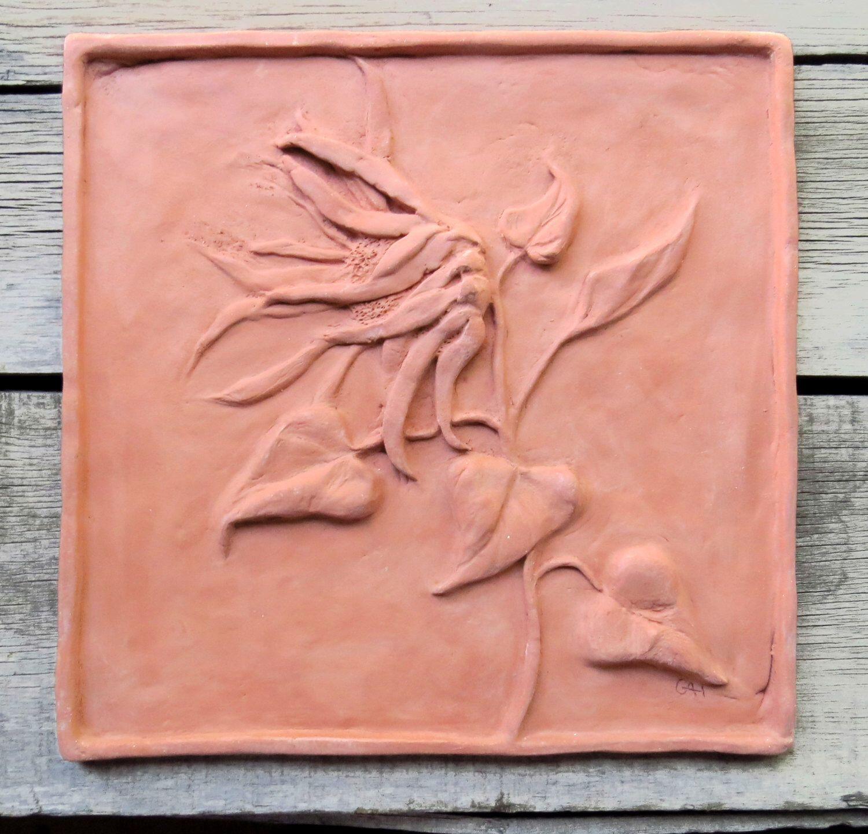 Ceramic ceramic sculpture tile 12 x 12 tile sunflower tile in ceramic ceramic sculpture tile 12 x 12 tile sunflower tile in terracotta home decor ceramic wall art handmade tile natural clay tile dailygadgetfo Image collections