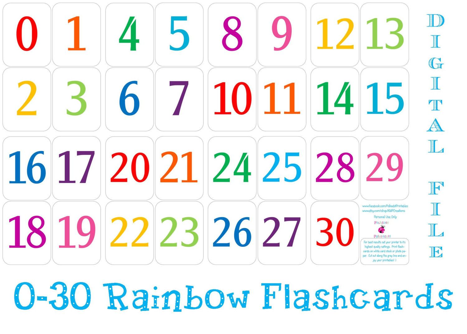 Printable Number Cards 1 30 With Images
