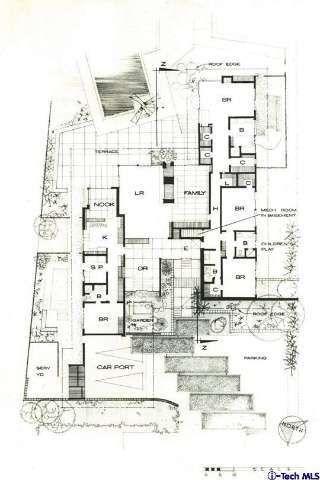 1950s Home Floor Plan, Original photo, 1955 Mid-Century