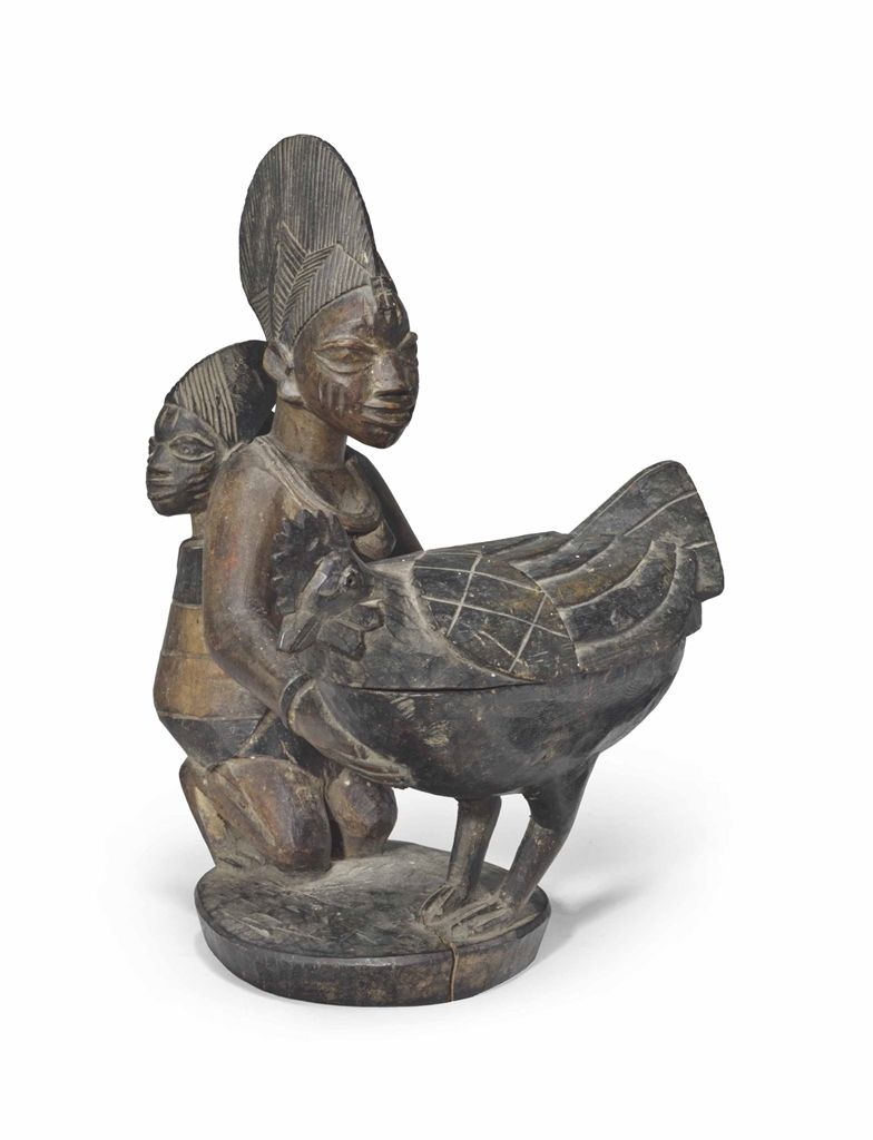 Yoruba Olumeye Kneeling Female with chicken Offering Bowl Nigeria