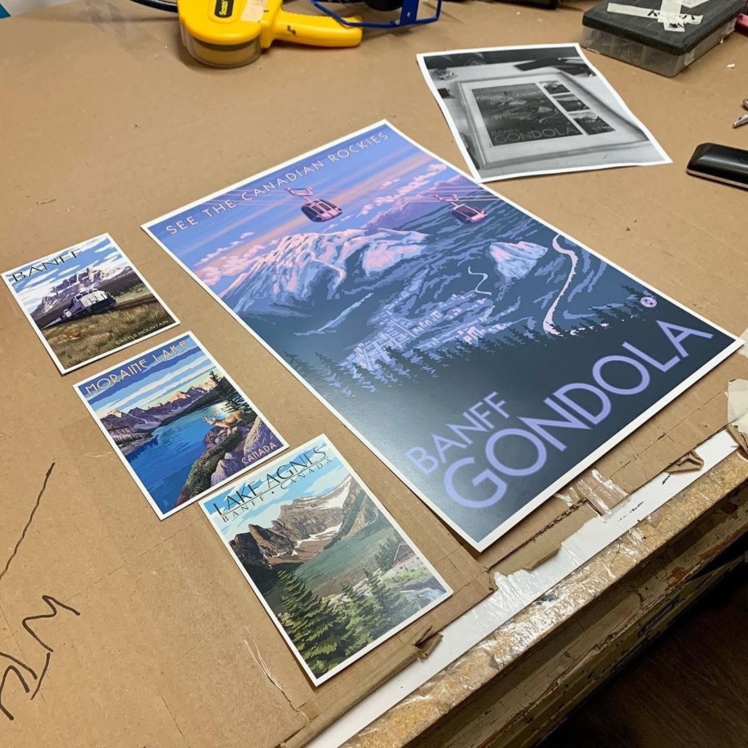 One of our clients decided to take this slowdown in his life to travel to Banff ! He bought a poster and 3 cards. We framed them in our in stock white 20x24 with a customized 4 mat opening cut by our computerized mat cutter ! We always only use conservation framing ! Our 35% off sale continues until oct 3rd #custommade #customframing #pictureframes #pictureoftheday #pictureframing #pictureframeshop #toronto #blogto #torontolife #loveroncy #roncesvalles #roncesvallesvillage #sohoframing #design #