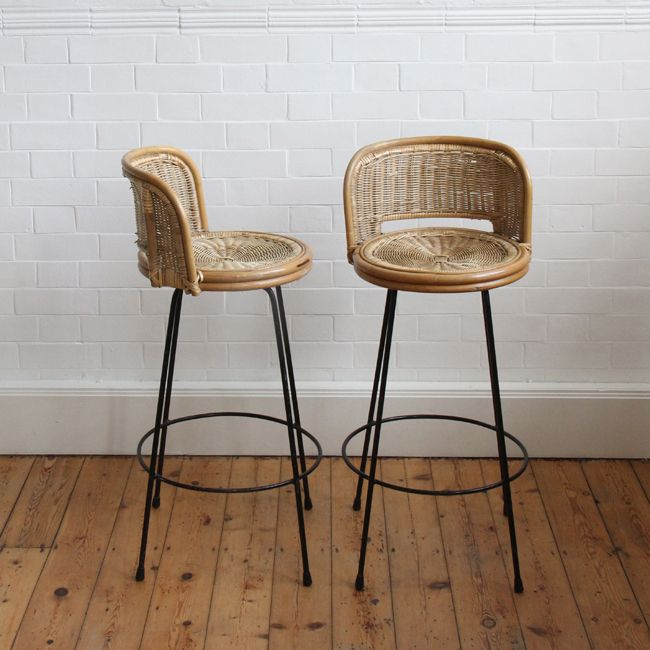 Image Of 1960 S Rattan Bar Stools Bar Table And Stools Kitchen Bar Table Rattan Bar Stools