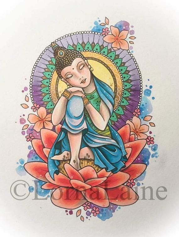 Buddha tattoo print, Buddha painting, tattoo design, spiritual art, watercolour illustration, mandal