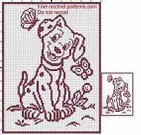 Baby Blanket With Dog 101 Dalmatians Filet Crochet Parrern Cross Stitch Silhouette Filet Crochet Crochet Blanket Patterns