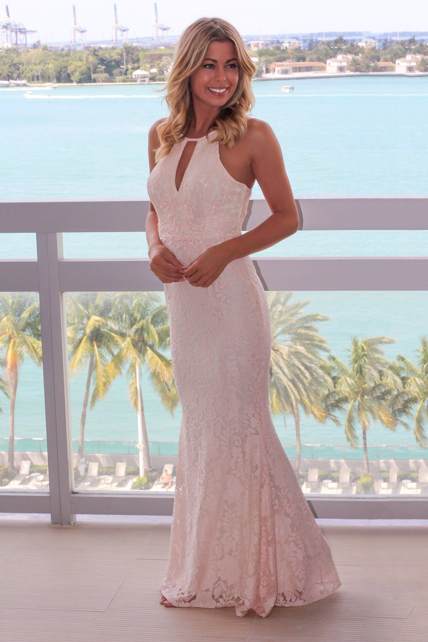 Pink lace wedding dress  Pink Lace Halter Neck Maxi Dress  Halter neck maxi dress Halter