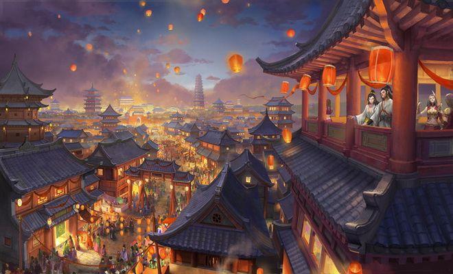 Spring Festival Fantasy Landscape Anime Scenery Digital Art