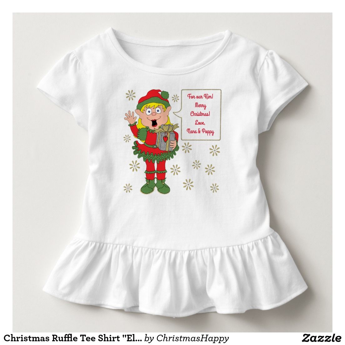 "Christmas Ruffle Tee Shirt ""Elf Gift Giving"""