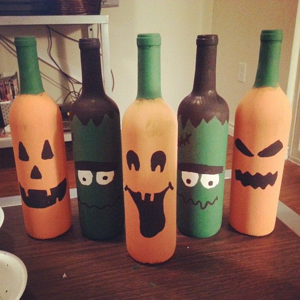 How To Decorate Wine Bottles For Halloween Beauteous Diy Halloween Wine Bottles Decor  A Dash Of Sarah Blog Design Ideas