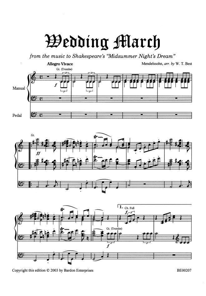 Wedding Sheet Music Wedding March From Midsummer Night S Dream Arr By W T Best By In 2020 Sheet Music Wedding Piano Sheet Music Free A Midsummer Night S Dream