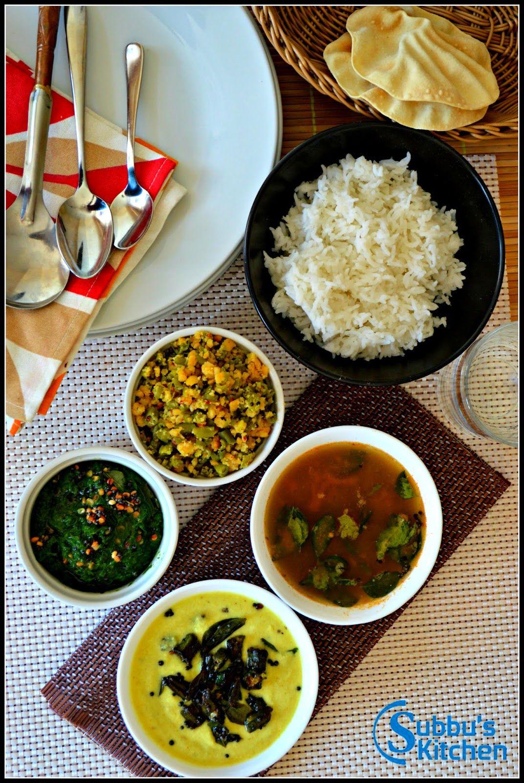 Subbus Kitchen South Indian Lunch Menu 2 Mor Kuzhambu Kalyana Rasam Paruppu Usuli And Keerai Masi Indian Food Recipes Indian Cooking Vegan Recipes Healthy