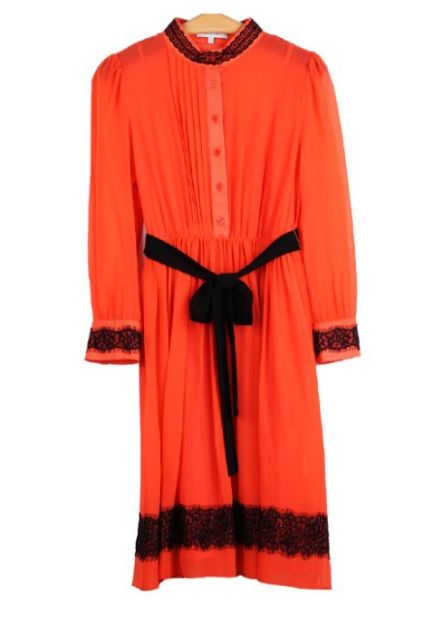 Stand-up Collar Laced Dress