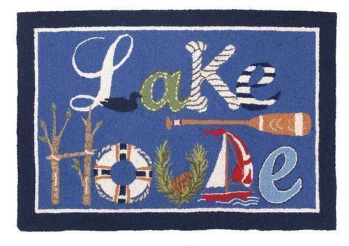 "Presenting our new 27"" x 40"" blue wool hooked accent area rug decorated with lake house images and Lake House words"