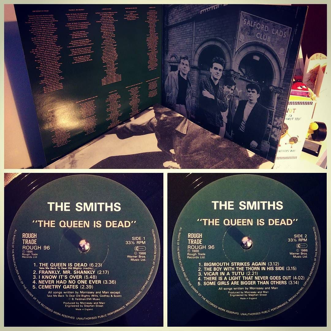 #nowspinning The Smiths - The Queen Is Dead. Rough Trade: ROUGH 96 (1986). Few days late but this has just had it's 30th birthday. As a 13/14 year old in 86 this album was on heavy rotation. Floppy hair trying to be melancholy band shirts and meeting JLO Holliday for Happy Shopper cola and a portion of chips and menthol fags. Then putting on this album and listening to every track intently. Not played it for years until tonight but still know all the words. Their best work. #indie #rock…