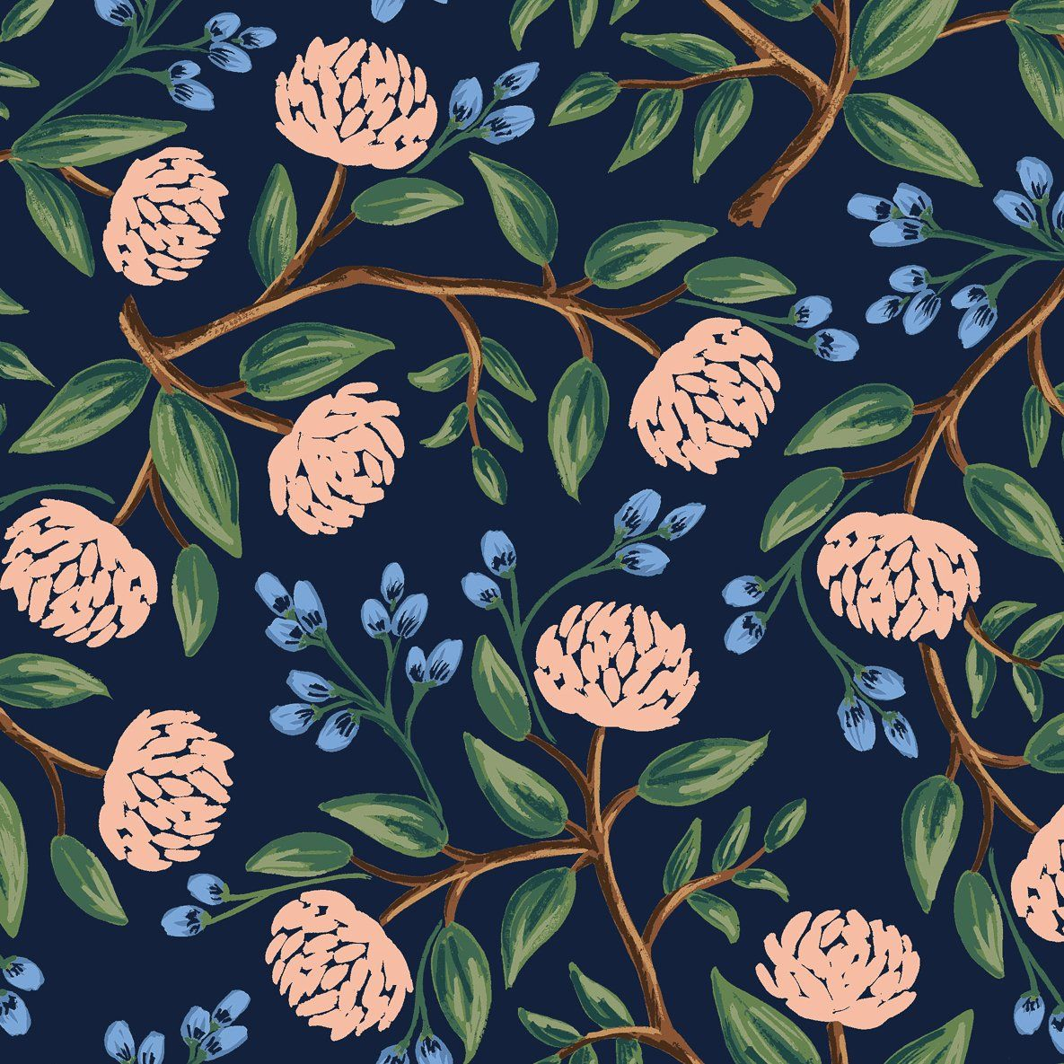 Wildwood by Rifle Paper Co : Peonies in Navy : Cotton and Steel #bluepeonies