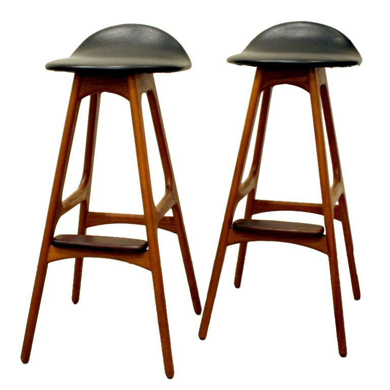 Vintage Teak Bar Stool by Erik Buck | Teak, Bar stool and Stools