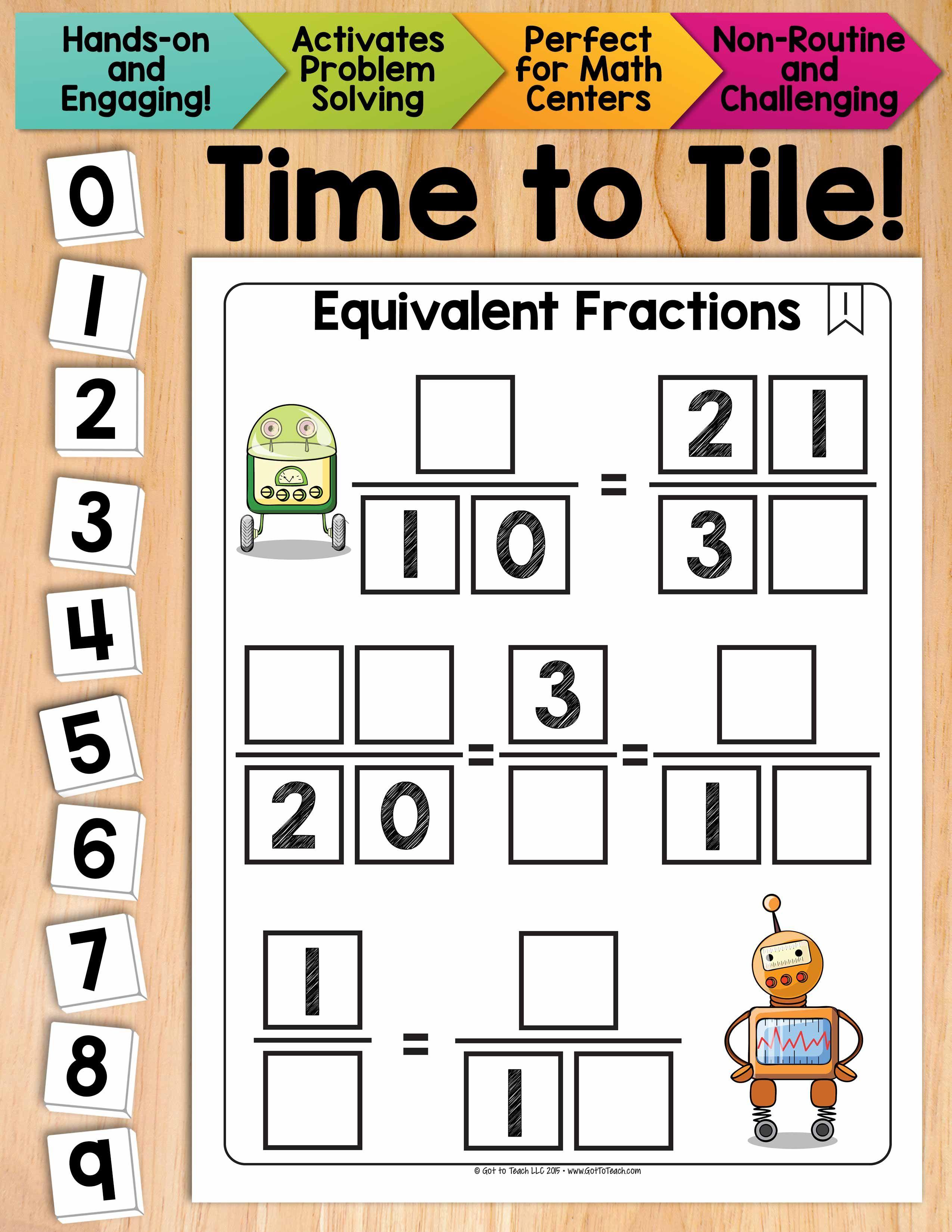 Math Tiles Equivalent Fractions Math Centers