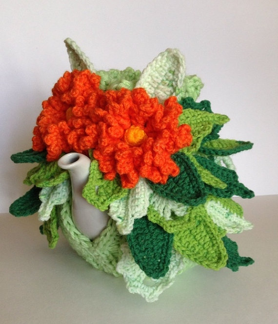 Hand knitted and crocheted tea cozy cosie \