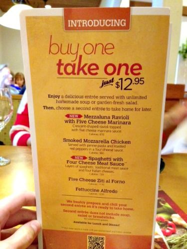 Olive Garden Buy One Take One Menu Items And 75 Gift Card