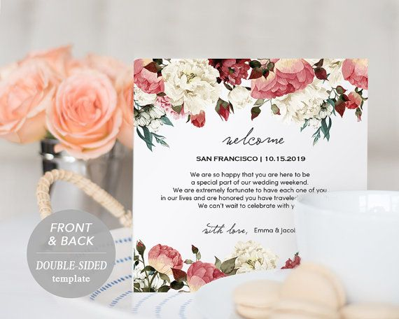 Wedding Itinerary Card, Welcome Note, Printable Wedding Itinerary