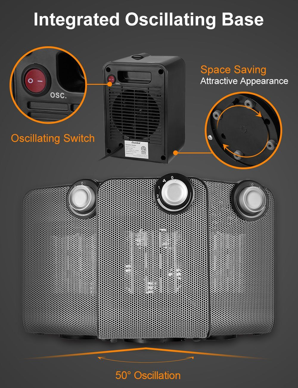 Portable ceramic heater small personal space heater ww safe