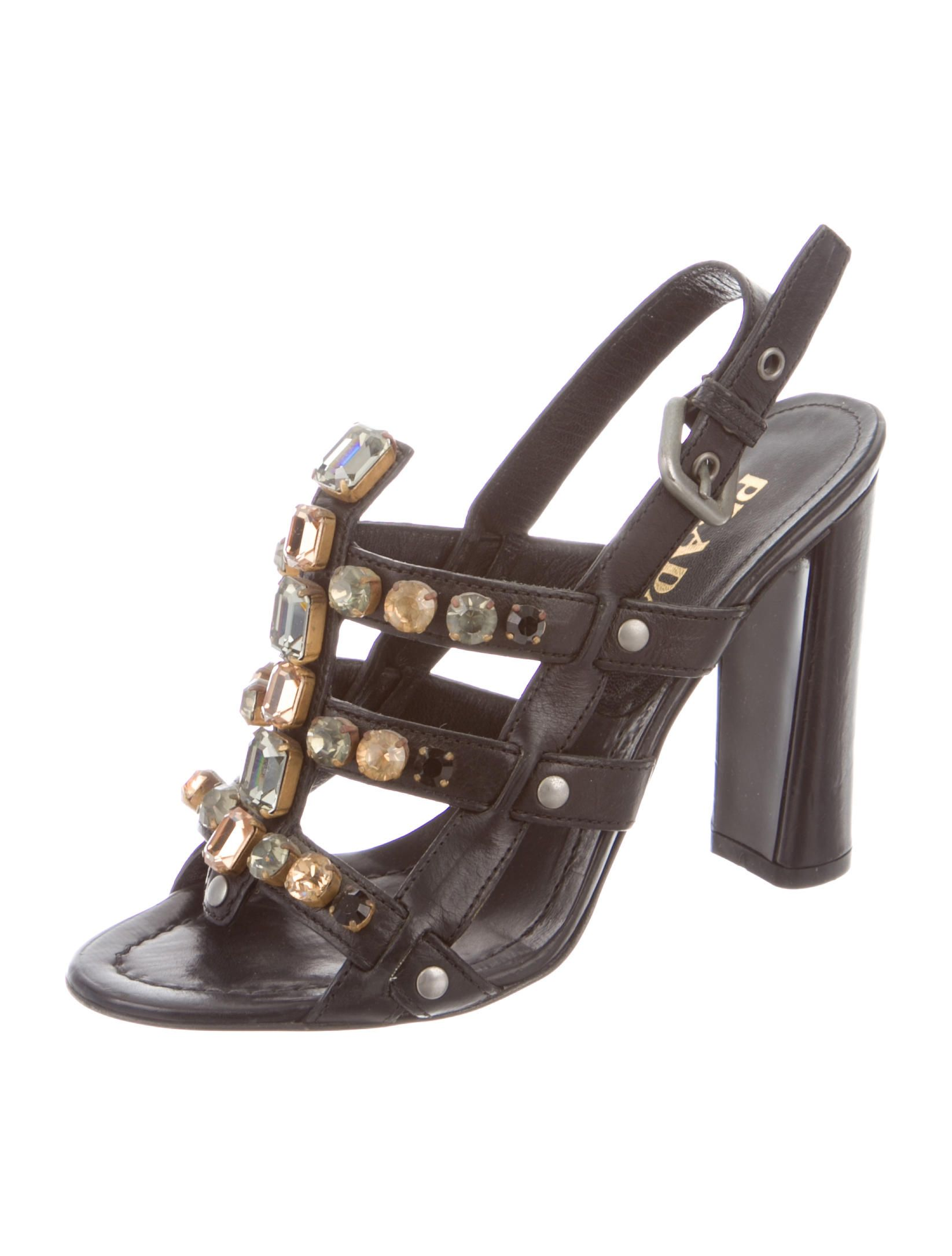 254d3eb7f7db6 Prada Jewel Embellished Cage Sandals - Shoes - PRA95155