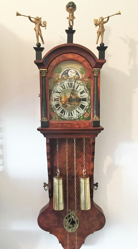 Large Vintage Dutch Friese Chain Driven Wall Clock Moon