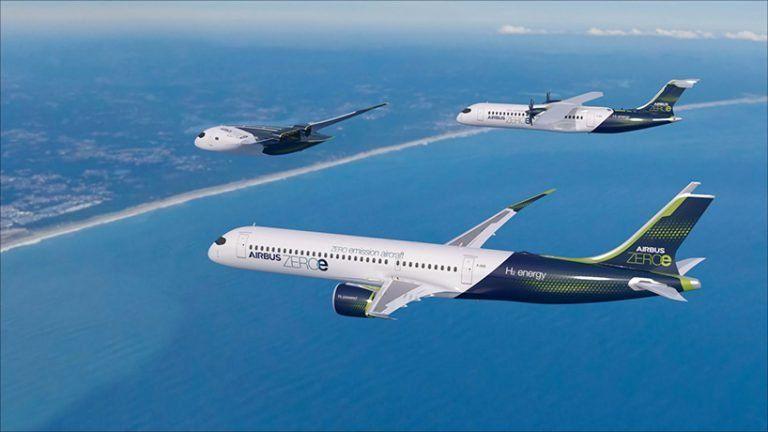 airbus ZEROe concept — three zero-emission, hydrogen-fueled aircraft