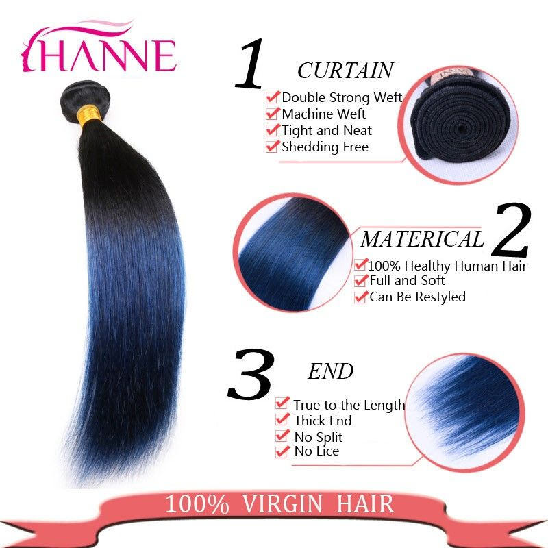 7A Ombre Blue Black Weave 4 Bundles Brazilian Straight Hair Extensions 1B/blue 100% unprocessed Remy Human Hair Bundles 2 Tones