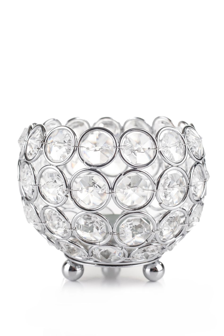 Candle Holder Round Real Beaded Crystal Votive Prestige 4