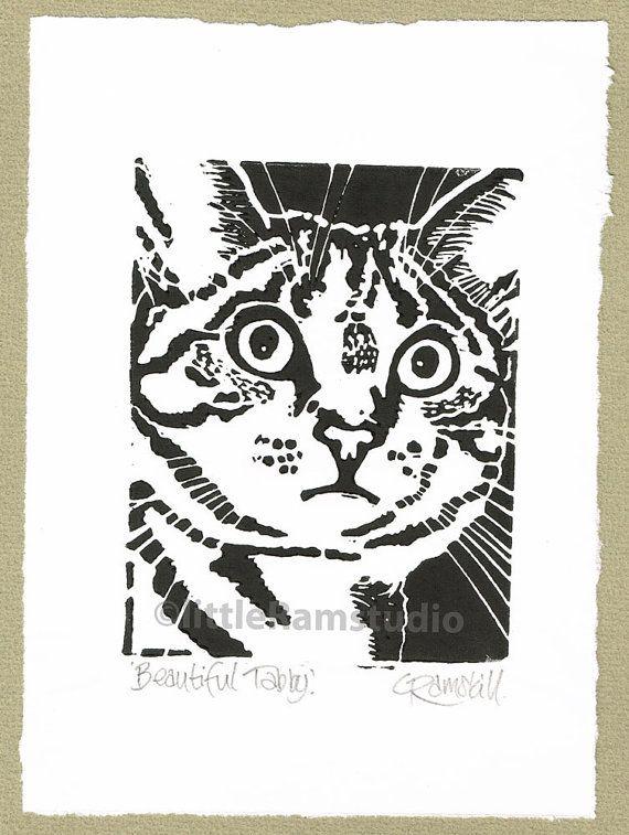 Linocut Print Exasperated Animals Cat Weird no Natural 004-5-20