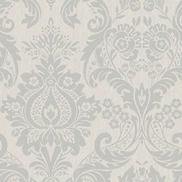 graham & brown fibrous buckingham silver damask metallic