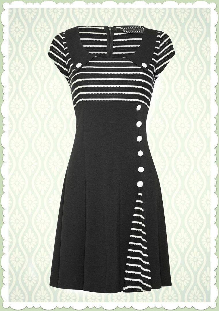 Voodoo Vixen Vintage 50s black & white Stripes Slit Dress 50er ...