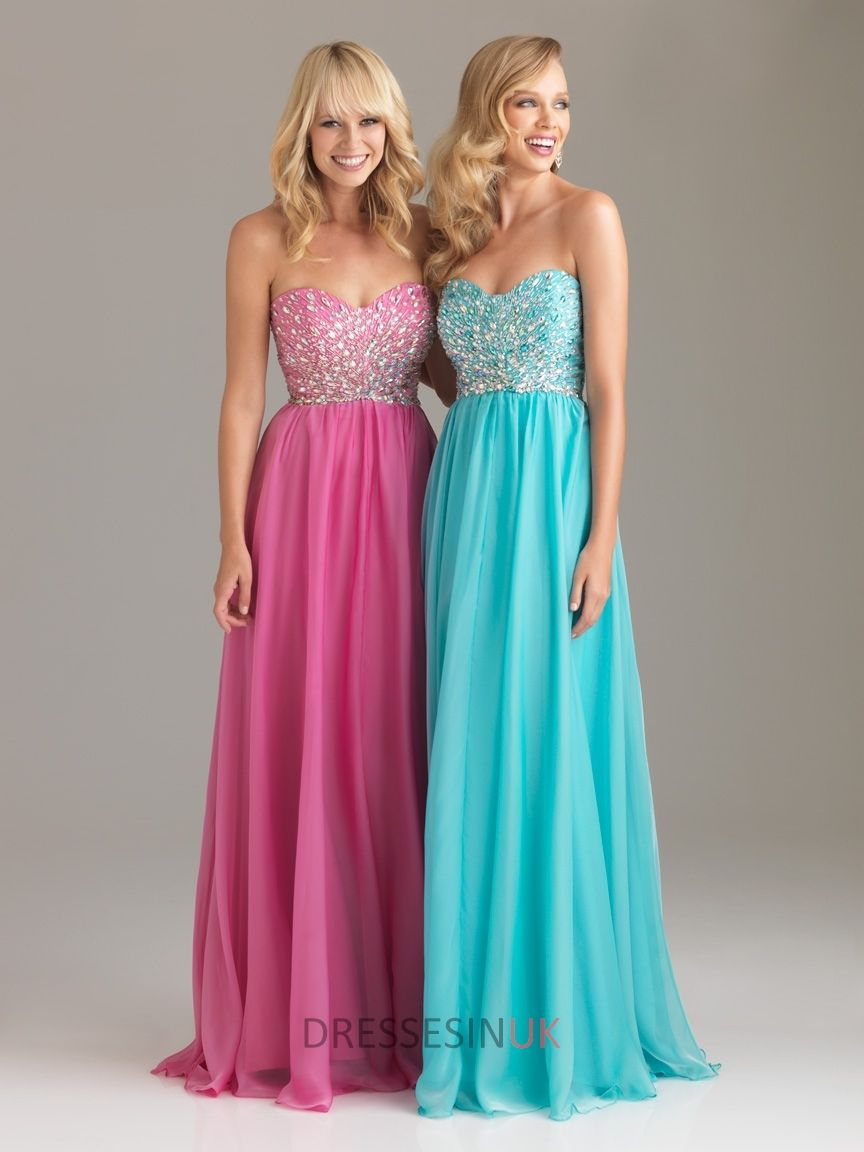 Column Strapless Sweetheart Crystals Bodice Sparkle Long Chiffon ...