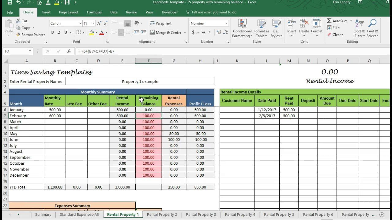 Landlord Bookkeeping Spreadsheet Being A Landlord Excel Spreadsheets Excel Spreadsheets Templates