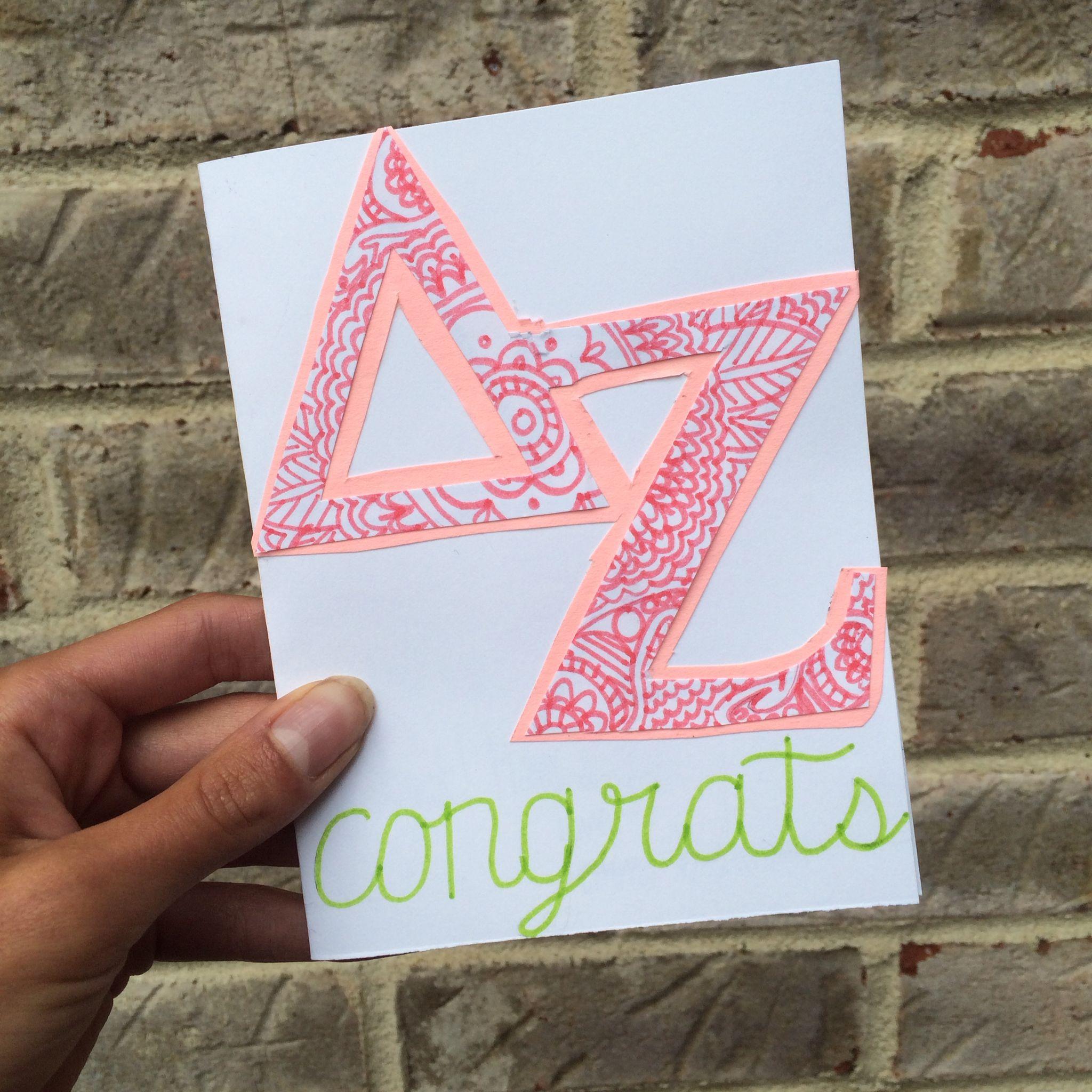 Handmade congratulations card sorority card delta