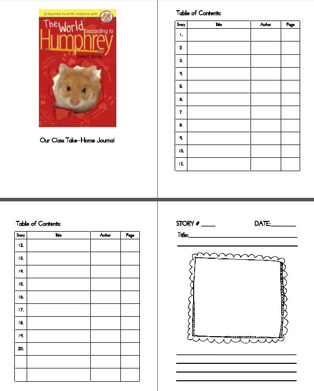 Classroom Journal Ideas : The world according to humphrey take home classroom
