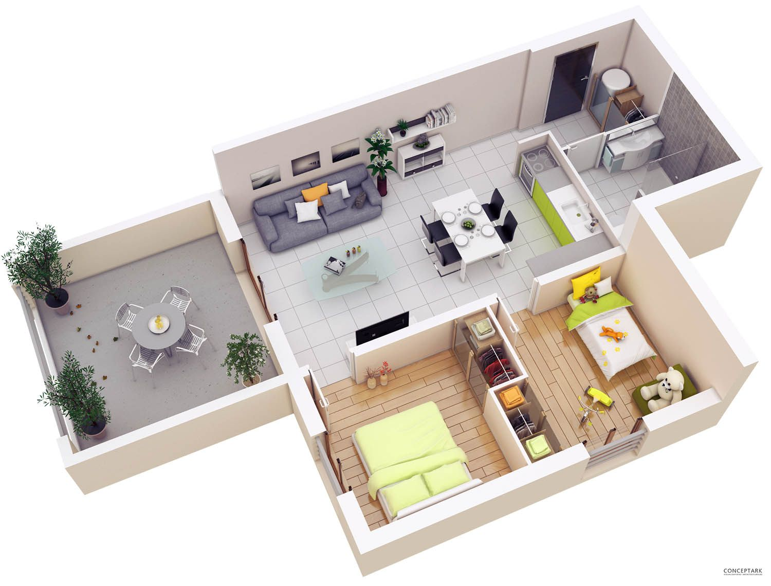 25 More 2 Bedroom 3D Floor Plans | Amazing Architecture Online