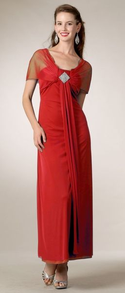 Scoop Neck Long Semi Formal Red Chiffon Dress Ankle Length  14d9bfa1a