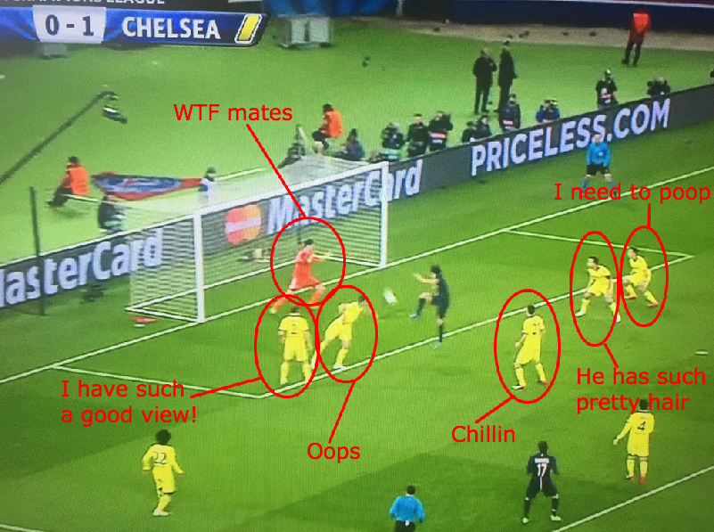 Pretty Damning Picture Of The Chelsea Defence For Edinson Cavani Goal Chelsea Defence Football Memes