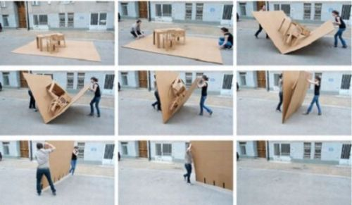 Pop Up Cardboard Furniture Folds To Carry