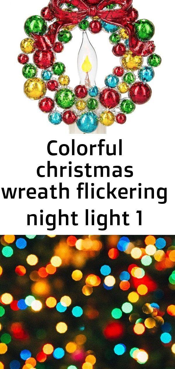 Colorful christmas wreath flickering night light 1,  Colorful christmas wreath flickering night light 1,