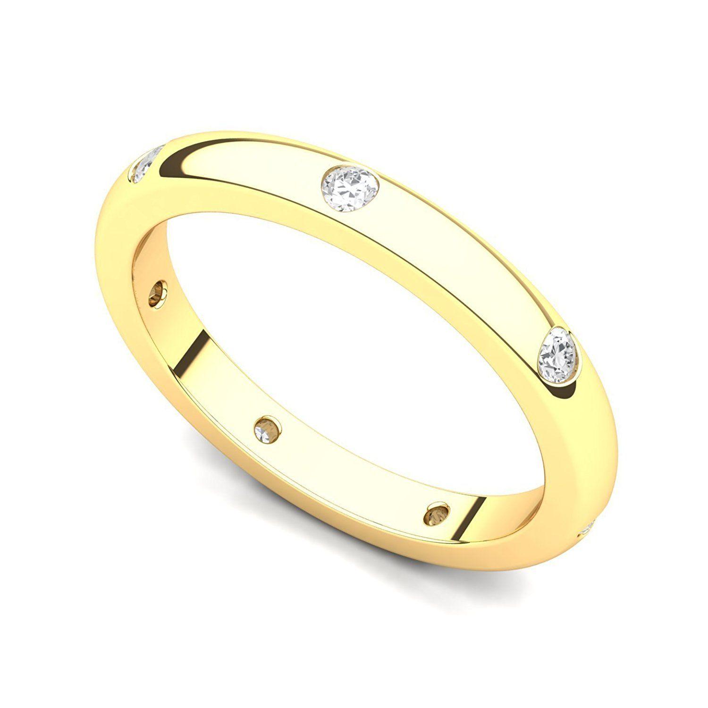18k Yellow Gold Bezel set Diamond Semi Eternity Wedding Band Ring