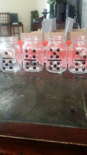 Domino mason jars | Havana theme party, Game night parties