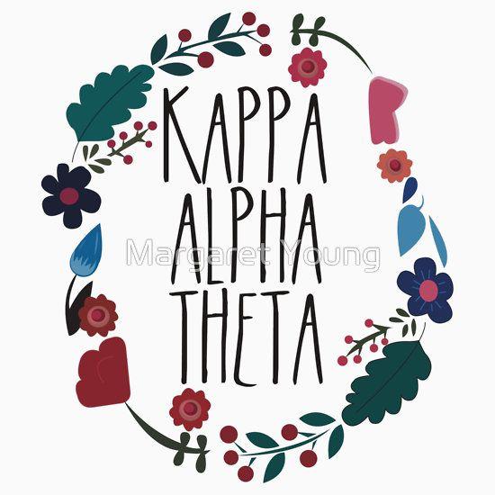 Kappa Alpha Theta Flower Wreath Sticker