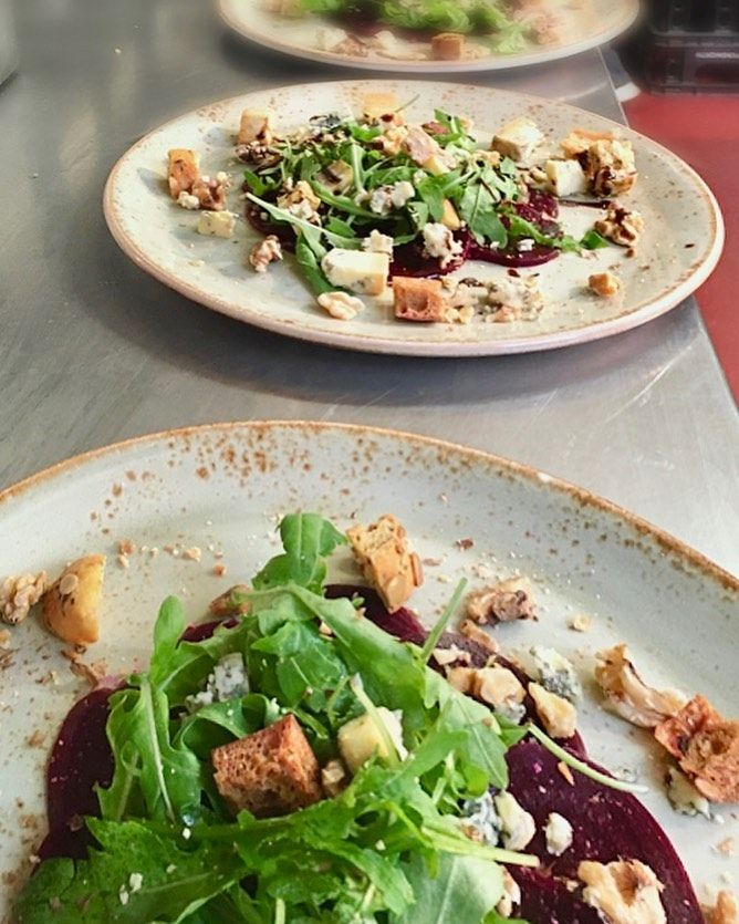 One of our popular new starters from our new 🍂 Autumn menu 🍂  Beetroot Carpaccio, toasted walnuts, garlic croutons, blue cheese, balsamic reduction . .