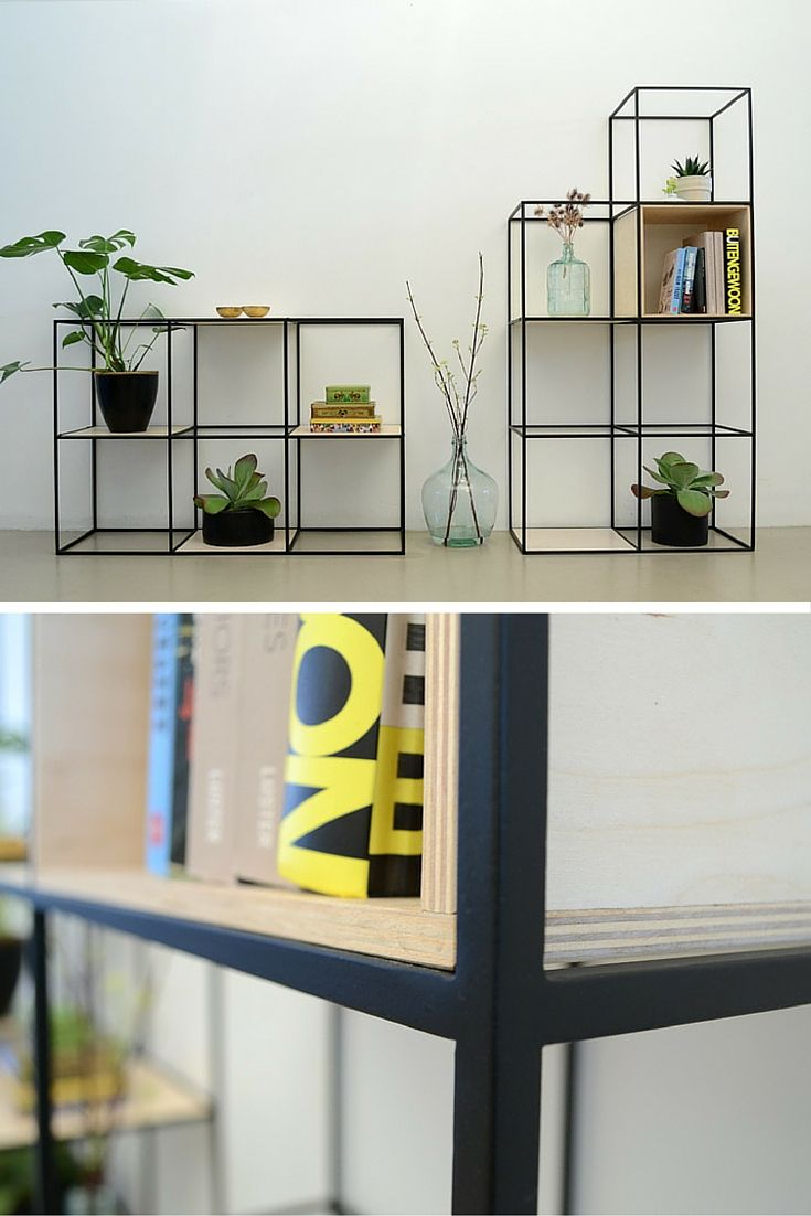 Harkavy furniture focuses on modern pieces made of wood and steel - Nortstudio Beautiful Shelf Built Up Symmetrically And Made Of Fine Steel And Plywood Steel