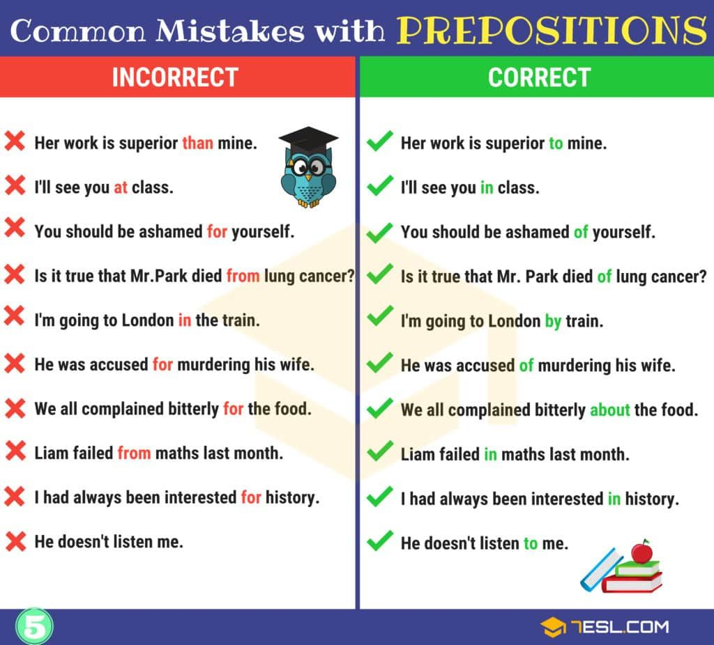 Preposition Errors 130 Common Mistakes With Prepositions