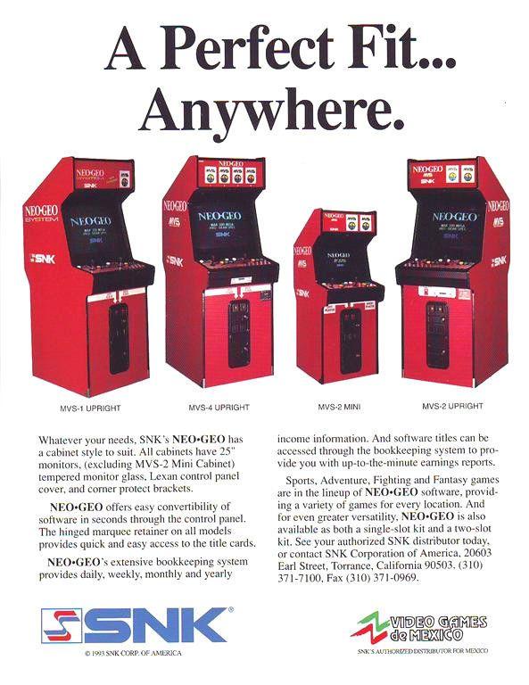 NEO GEO SYSTEM By SNK 93 ORIGINAL NOS VIDEO ARCADE GAME MACHINE PROMO SALE FLYER #newgeo #videogameflyers #arcadeflyers